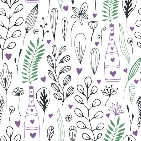 swatch book: Vector floral pattern with doodle flowers and leaves. Spring nature print for wrapping or textile design