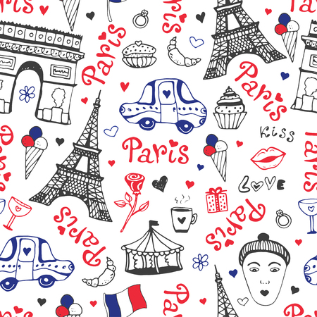 Paris seamless pattern with eiffel tower, triumphal arch and cute doodles. Vector background in national colors