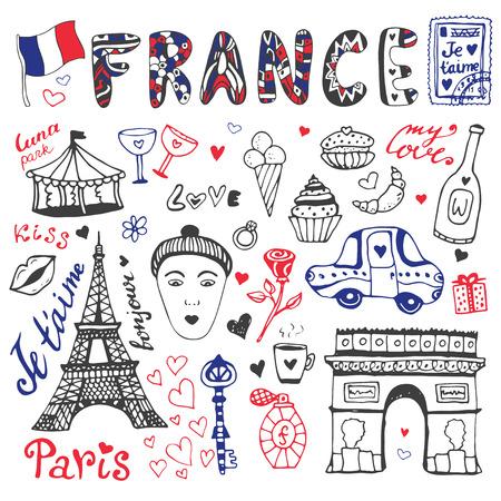 pasteleria francesa: garabatos dibujados a mano conjunto de Francia - Torre Eiffel, arco de triunfo y otros elementos de la cultura. Colección de vector. Vectores