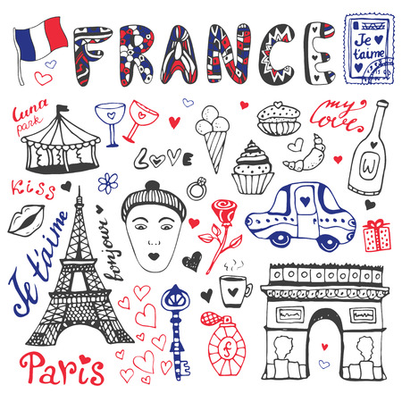 Hand drawn doodles set of France - Eiffel tower, Triumphal arch and other culture elements. Vector collection.