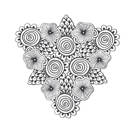 the unique: Unique triangle mandala with flowers.
