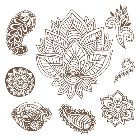 Hand drawn indian ornaments collection. Vector illustration with doodle flowers and paisley.  Creative art for henna tattoo design Illustration