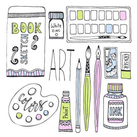 art pen: Art supplies for drawing. Sketches vector set with paints, palette, sketchbook and other materials.