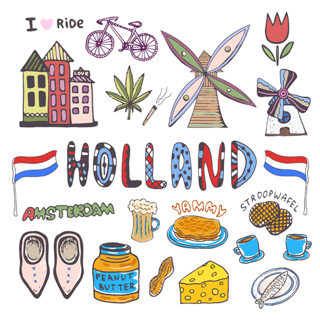beer tulip: Doodle hand sketch collection of Holland icons. Netherlands culture elements for design. Vector colorful illustrations.