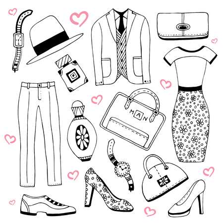up skirt: Fashion clothes and accessories set. Summer fashion doodles collection. Vector sketch icons for man and woman beauty design