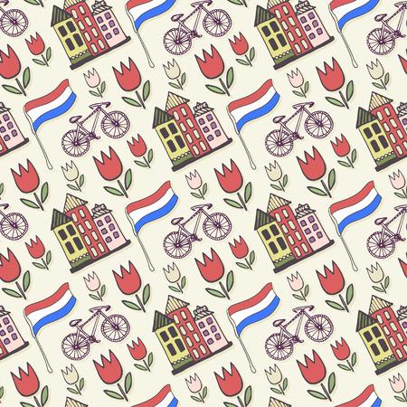 Holland doodles vector background. Netherlands seamless pattern for design. Vector illustration. Ilustração