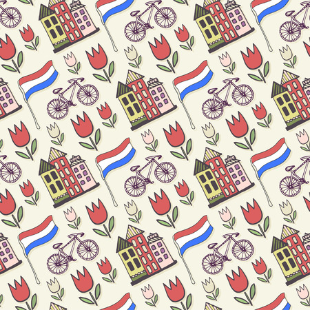 Holland doodles vector background. Netherlands seamless pattern for design. Vector illustration. Illusztráció