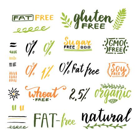 バッジと自家製の天然物のラベル。遺伝子組み換え、グルテン、脂肪、小麦、砂糖無料手書きテキスト。ベクター デザイン。