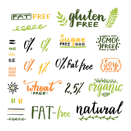 Badges and labels for homemade natural products. Gmo, gluten, fat, wheat and sugar free handwritten texts. Vector design.