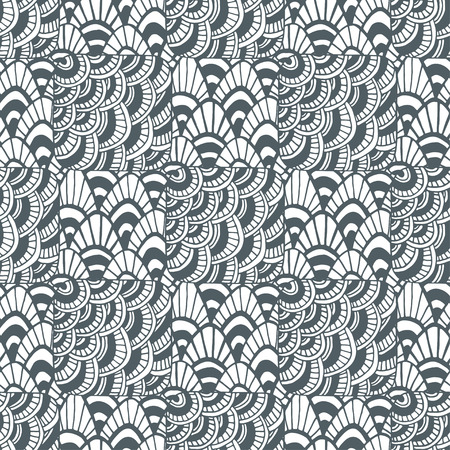packaging design: Ornamental waves pattern. Creative textile swatch or packaging design. Black and white page for adult coloring book