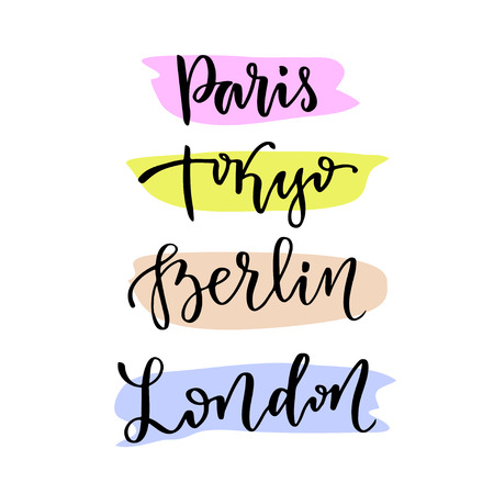 capital cities: Hand lettering. modern calligraphic lettering. Capital cities of the world - Paris Tokyo Berlin London. Illustration