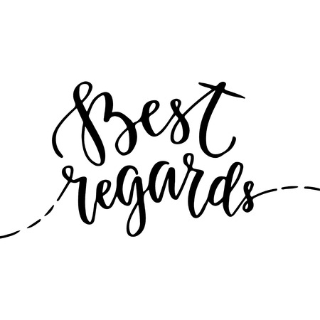 regards: Best regards greeting card with hand lettering. Blog icon with brush lettering.