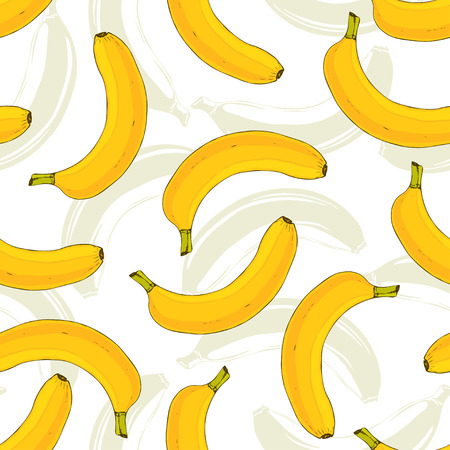 eating banana: Seamless pattern with yellow bananas. Banana fruit repeating pattern. Tasty print for kitchen textile or fabric design.