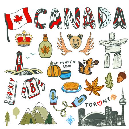 Sketch Sammlung von Kanada Symbole. Kanadische Kultur hatte skizzierte Set. Reisen Abbildung mit Doodle-Schriftzug. Vektorgrafik