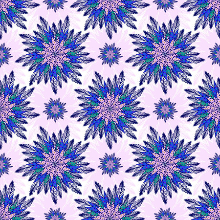 east indian: East seamless pattern with abstract flowers. Indian purple background. ornamental floral pattern for textile, linen print design. Illustration