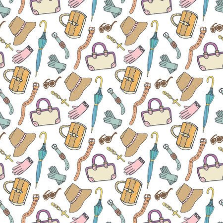 handbags: Doodle fashion pattern with accessories and handbags.  seamless pattern. Woman shopping background. Illustration