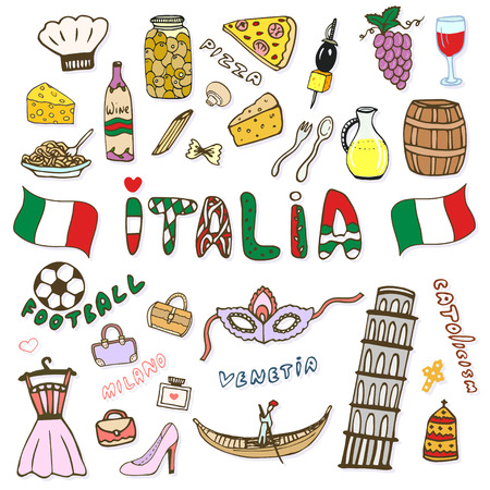 italy culture: Doodle hand sketch collection of Italy icons. Italy culture elements for design. color sketches travel set. Italia lettering in italian language - Italy. Illustration