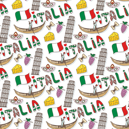 italia: Italy seamless pattern with flag and culture elements. doodle travel background. Italia lettering in italian language - Italy.