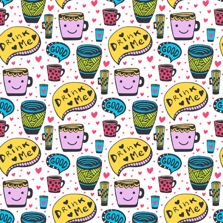 good break: Cute doodles tea and coffee pattern. Doodle smiley cups seamless background. Vector cute pattern.