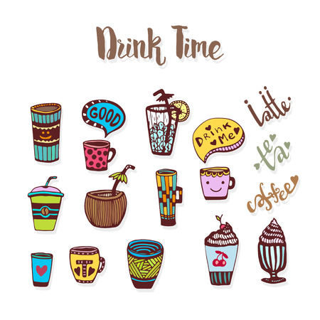 sketched icons: Tea and coffee doodle sketched icons. Sketch icon collection with cups. Vector