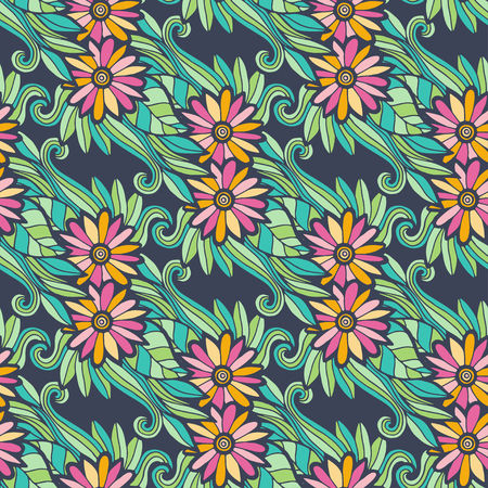 fabric swatch: Modern floral seamless pattern with flowers and leaves. Creative textile fabric swatch or packaging design. Illustration