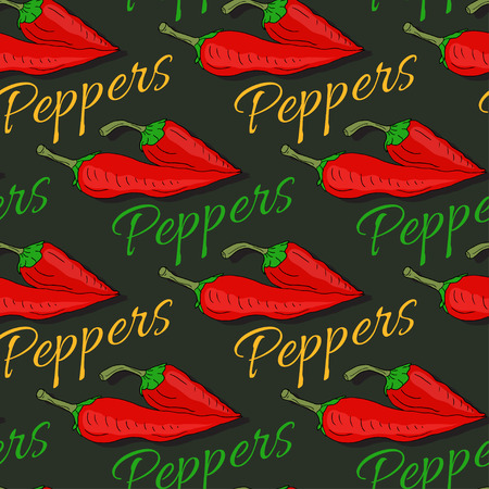 packaging design: Red hot chili pepper seamless pattern on dark background. Spicy background for seeds packaging design or kitchen decoration