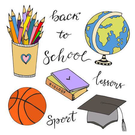 sketched: Hand drawn vector with school stationery doodle icons. Vector sketched doodle set. Back to school.