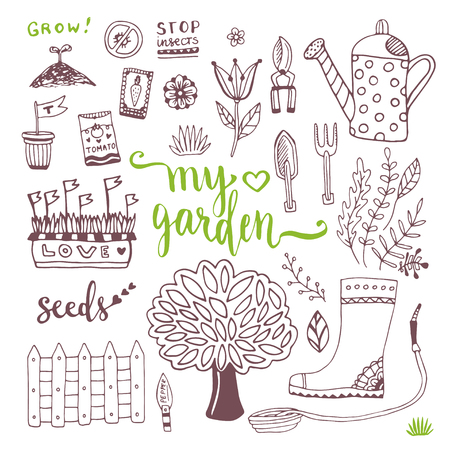 packets: Hand sketch set of Garden doodle elements - seed packets, tools,  tree and watering can.