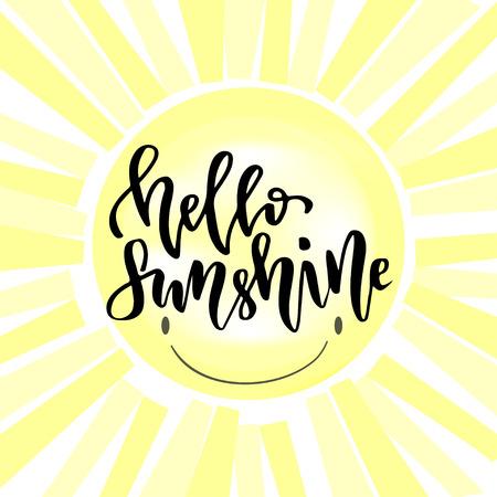 positive energy: Vector hand lettering. Handwriting modern lettering. Hello sunshine.
