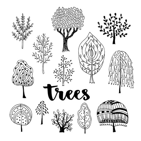 Trees vector set. Hand drawn vector collection of doodle trees.