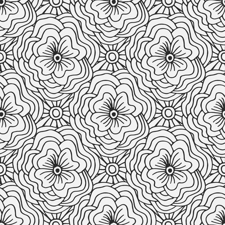 swatch book: Doodle seamless pattern with flowers. Creative textile swatch or packaging design. Adult coloring book page.