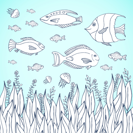 Adult coloring book page.  Kids coloring page with aquarium fishes. Sea life with fish characters. Kids coloring page with aquarium Illustration