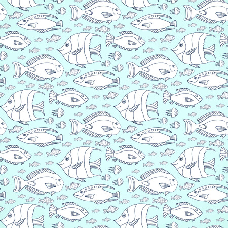 book pages: fishes pattern. Hand drawn sea life seamless pattern. Adult or kids coloring book page Illustration