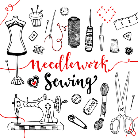 craft supplies: Needlework and sewing equipment and elements. hand drawn doodle art with craft supplies. Illustration