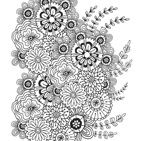 Flores Abstractas Para La Decoración. Sección De Libro Para Colorear ...