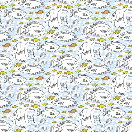 swatch book: Vector sketch doodle fishes pattern. Hand drawn sea life seamless pattern. Adult or kids coloring book page or fabric swatch.