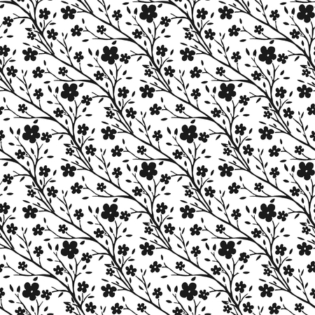 Vector tiny flowers pattern. Monochrome seamless pattern for fabric or packaging design.