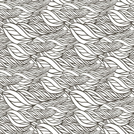 wave ornament: Vector pattern with abstract wave ornament. Adult coloring book page. Zentangle seamless design Illustration