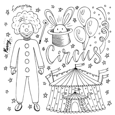 Hand drawn Circus collection with clown, balloon, circus tent and magic rabbit. Coloring book page for kids