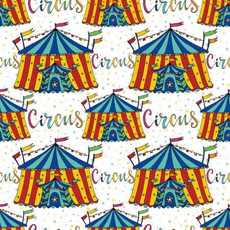 cartoon circus: Seamless pattern circus tent. Hand drawn vector background. Carnival decoration.