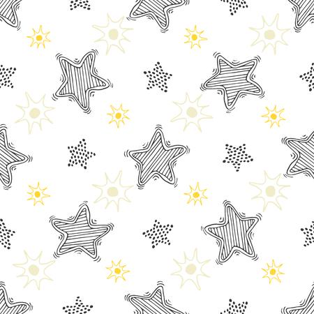 手描きのスケッチは星のシームレスなパターンです。繊維または折り返しの幼稚な背景は。