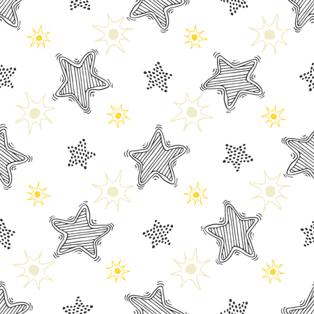 slumber party: Hand drawn sketch stars seamless pattern. Childish background for textile or wrapping. Illustration