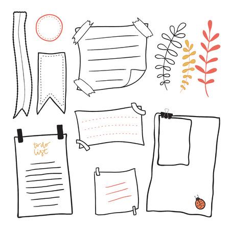 便箋を落書き。手描き下ろしメッセージ付箋ベクター セット。