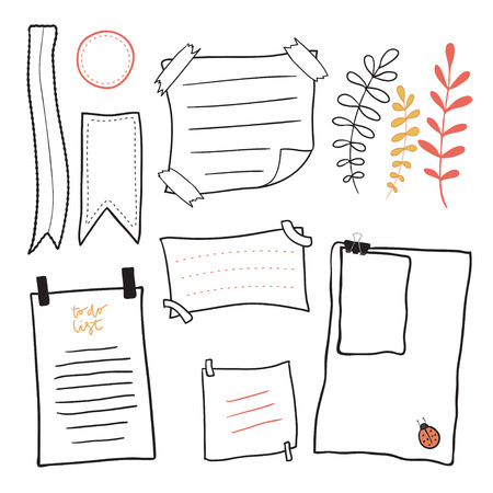 Doodle notepaper. Hand drawn messages sticky notes vector set.