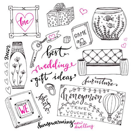 wishlist: Wedding gift ideas set. Cartoon doodle illustration for wedding wish list Illustration