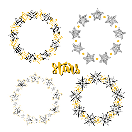 slumber party: Stars frame background decoration set. Sketchy hand drawn vector illustration.