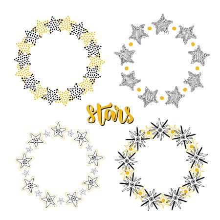 slumber party: Stars frame background decoration set. Sketchy hand drawn vector illustration.