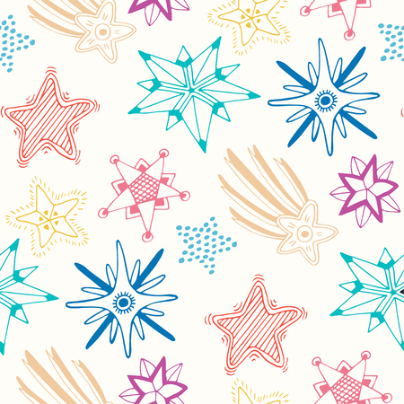 sketched: Sketched stars seamless pattern. Childish colorful background for textile or wrapping.