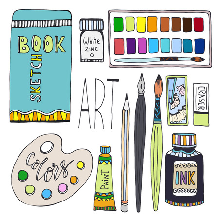 Art supplies for drawing. Cartoon vector set with paints, palette, sketchbook and other material