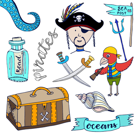 cartooning: Cartoon pirates set. Hand drawn kids collection. Doodle vector illustrations pirate and parrot.